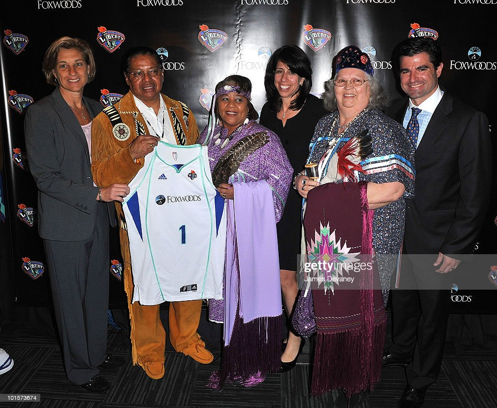 Carol Blazejowski, Anthony Sebastian, Priscilla Brown, Donna Orender, Joyce Walker and Scott O'Neil pose for photos to promote new partnership between NY Liberty and Foxwoods at Madison Square Garden on June 2, 2010 in New York City.
