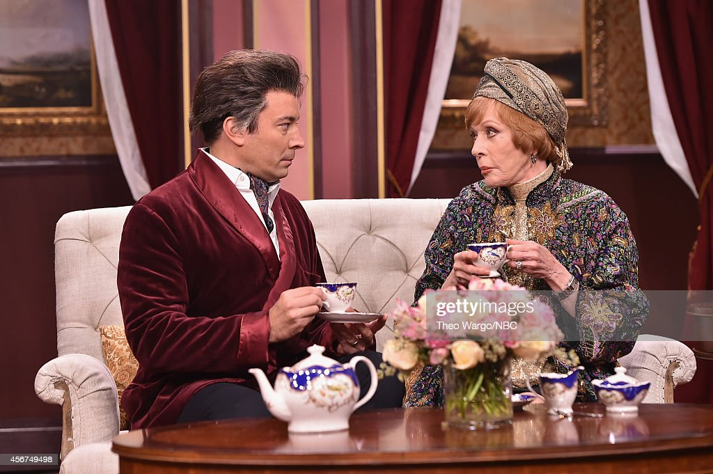 Carol Burnett and Jimmy Fallon perform a skit during a taping of 'The Tonight Show Starring Jimmy Fallon' at Rockefeller Center on October 6 2014 in...