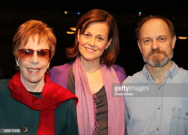 Carol Burnett Sigourney Weaver and David Hyde Pierce pose backstage at the hit comedy 'Vanya and Sonia and Masha and Spike' at The Golden Theater on...