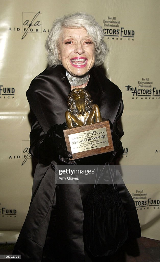 Carol Channing with her Julie Harris Award for Lifetime Achievement