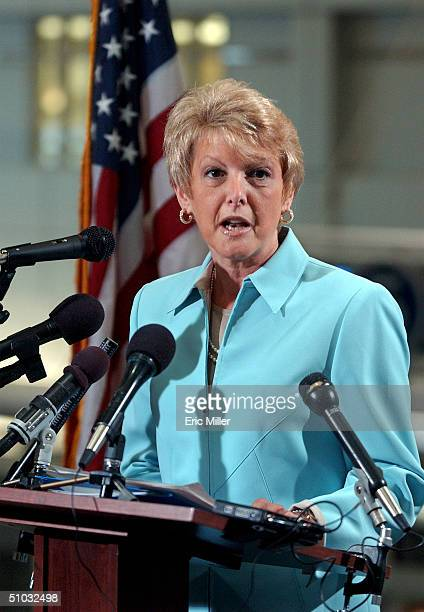 Carol DiBatteste Chief of Staff of the Transportation Security Administration speaks at a press conference before unveiling the Registered Traveler...