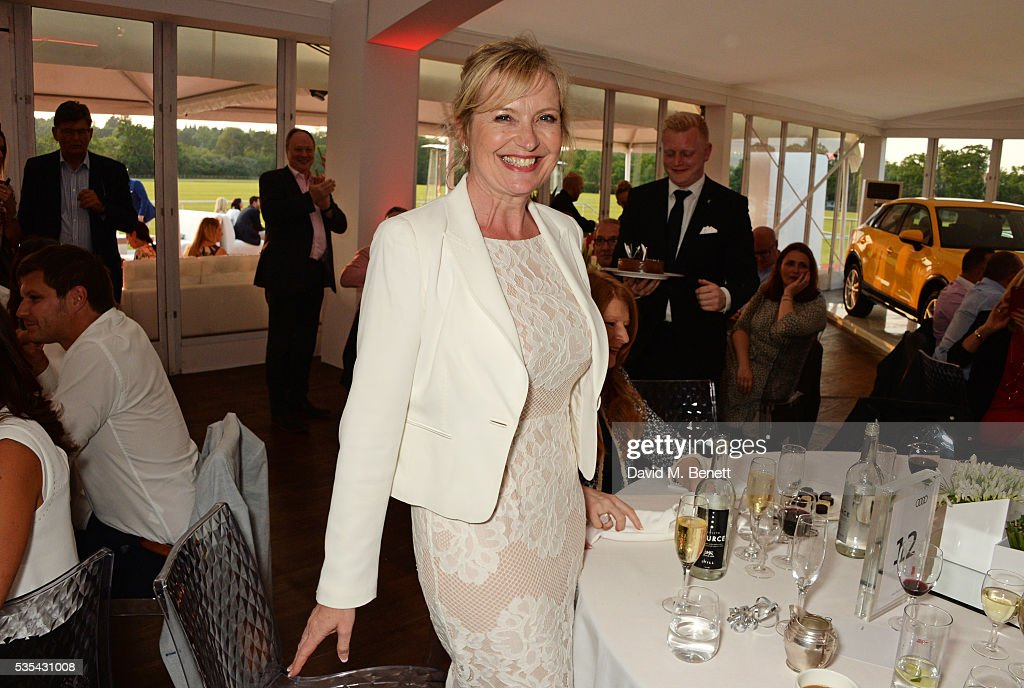 Carol Kirkwood celebrates her birthday during day two of the Audi Polo Challenge at Coworth Park on May 29, 2016 in London, England.