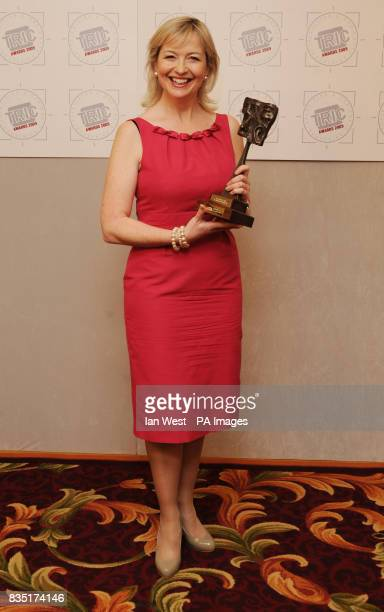 Carol Kirkwood with the award for 'TV Weather Presenter' during the Tric Awards held at the Grosvenor House Hotel central London
