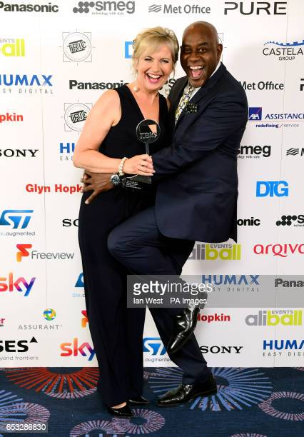 Carol Kirkwood with the award for Weather Presenter alongside Ainsley Harriott during the 2017 Television and Radio Industries Club Awards Grosvenor...
