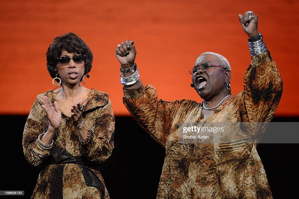 Carol Maillard and Ysaye Barnwell perform during Sweet Honey In The Rock: Celebrating The Holydays at The Apollo Theater on December 20, 2012 in New York City.