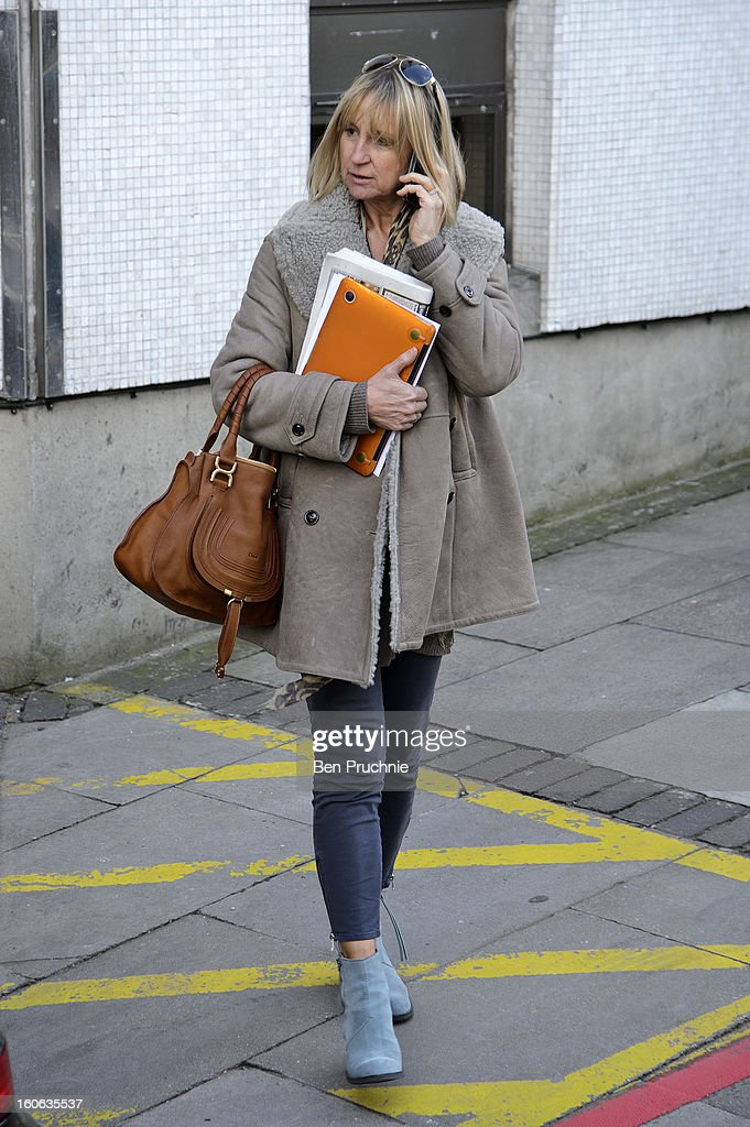 Carol McGiffin sighted departing ITV Studios on February 4, 2013 in London, England.