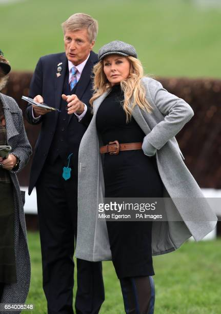 Carol Vorderman and horse trainer Michael Dickinson during St Patrick's Thursday of the 2017 Cheltenham Festival at Cheltenham Racecourse