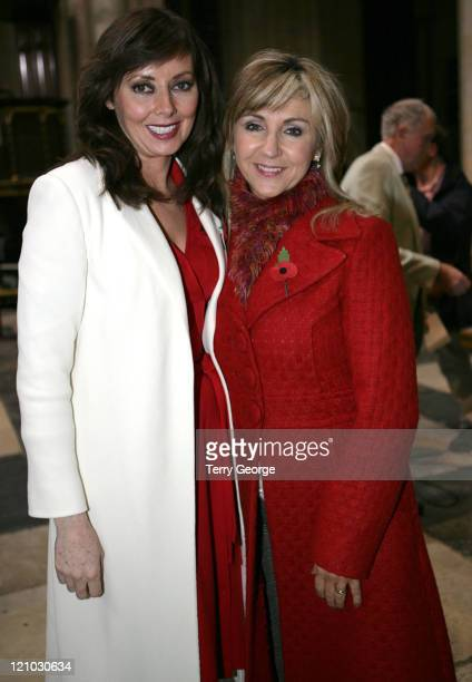 Carol Vorderman and Lesley Garrett during Memorial Service for Richard Whiteley at York Minster at York Minster in York Yorkshire Great Britain