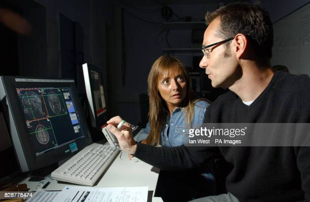 Carol Vorderman and neurophysiologist Dr Mark Lythgoe who is trying to find out why she has a head for figures with a scan of her brain Whilst some...