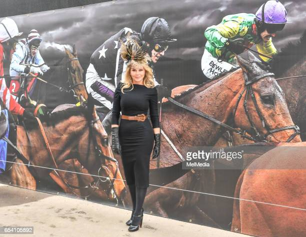 Carol Vorderman at Cheltenham Racecourse for Day of The Festival St Patrick's Thursday on March 16 2017 in Cheltenham Gloucestershire
