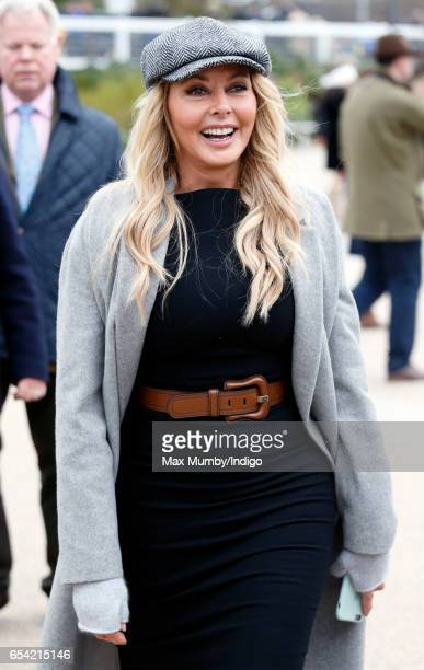 Carol Vorderman attends day 3 of the Cheltenham Festival at Cheltenham Racecourse on March 16 2017 in Cheltenham England