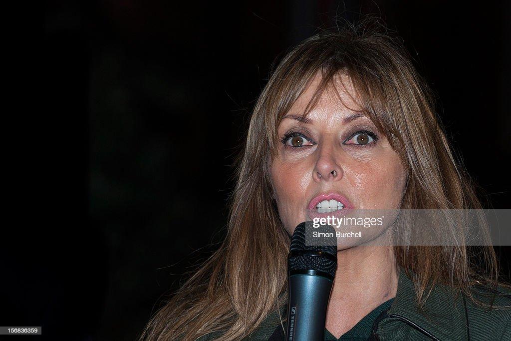 Carol Vorderman Carol Vorderman switches on the Christmas Lights on Mount Street on November 22, 2012 in London, England.