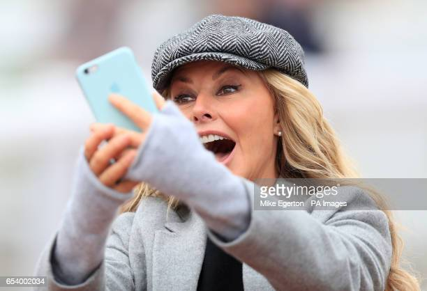 Carol Vorderman during St Patrick's Thursday of the 2017 Cheltenham Festival at Cheltenham Racecourse