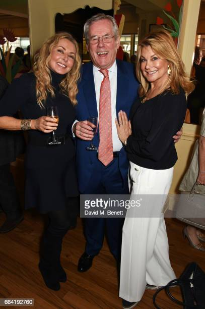 Carol Vorderman guest and Jilly Johnson attend a party celebrating 40 years of Langan's Brasserie on April 3 2017 in London England