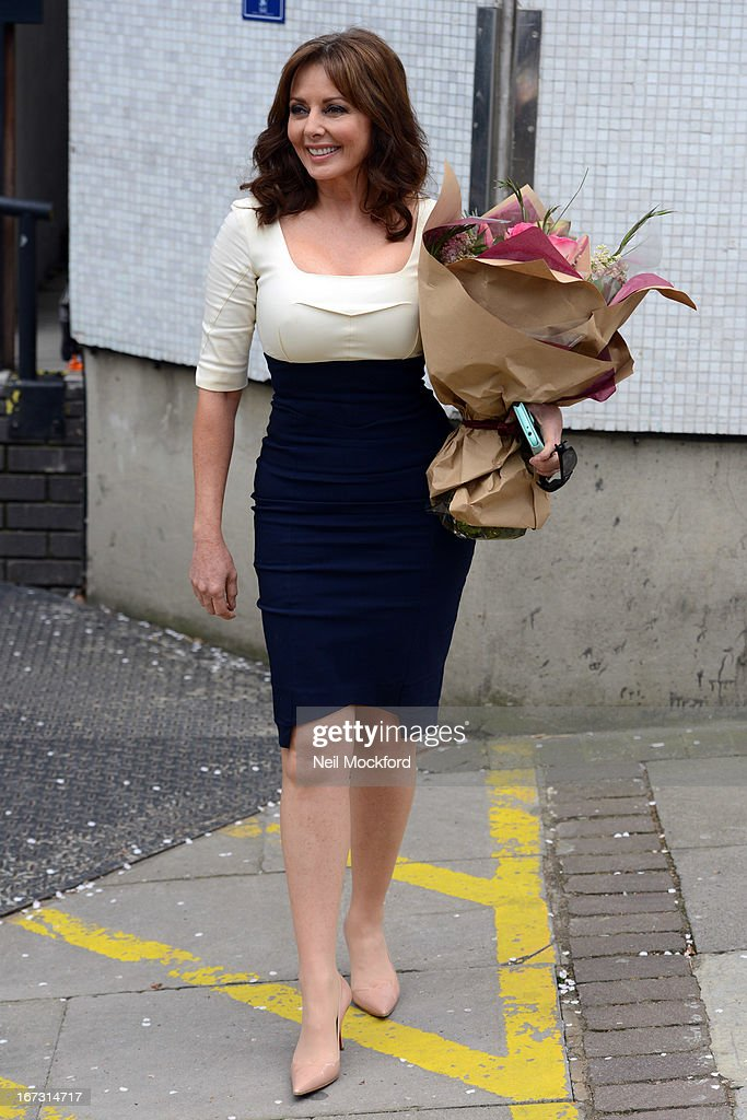 Carol Vorderman seen leaving the ITV Studios after returning to 'Loose Women' on April 24, 2013 in London, England.