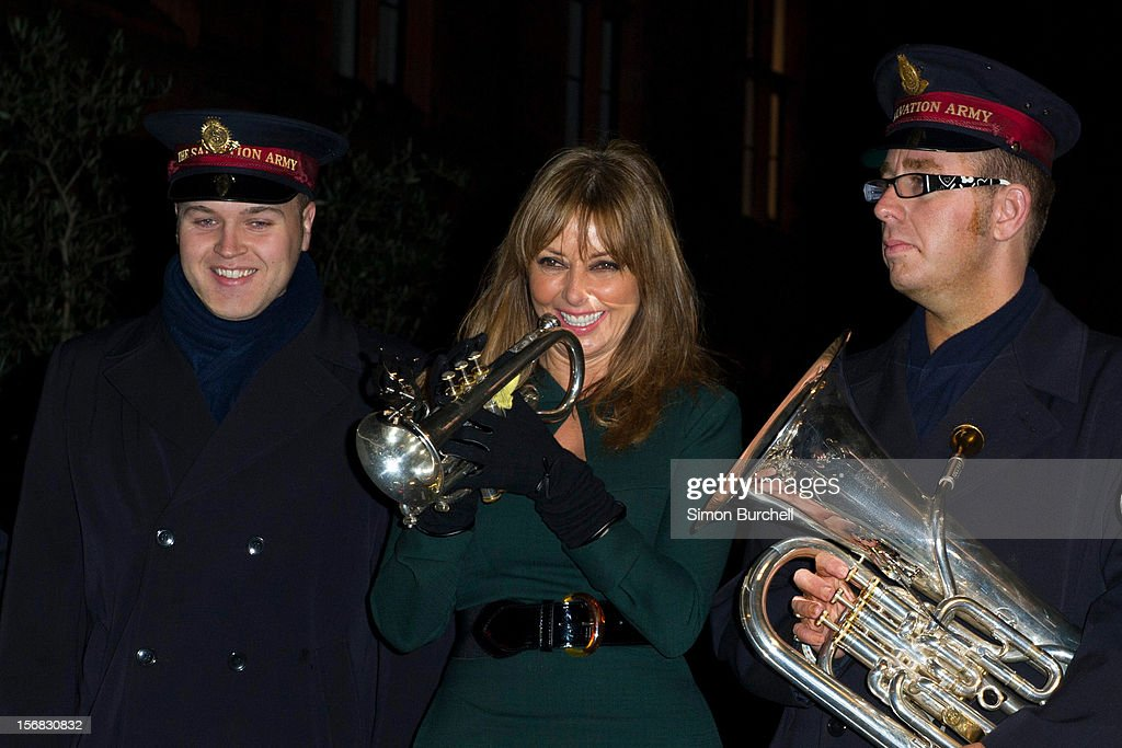 Carol Vorderman switches on the Christmas Lights on Mount Street on November 22, 2012 in London, England.