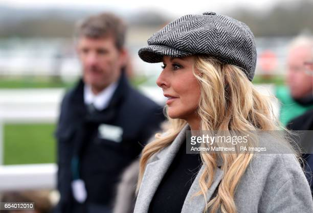 Carol Vorderman trackside during St Patrick's Thursday of the 2017 Cheltenham Festival at Cheltenham Racecourse