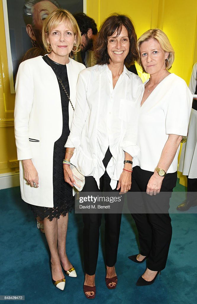 Carol Woolton, Jayne Pickering and Sacha Forbes attend a drinks reception and dinner in celebration of the Sabine Getty Showroom in Berkeley Square on June 28, 2016 in London, England.
