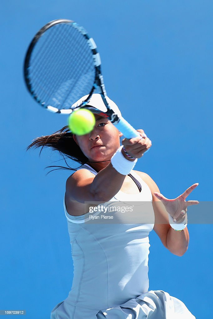Carol Zhao of Canada plays a forehand in her first round match against Brooke Rischbieth of Australia during the 2013 Australian Open Junior Championships at Melbourne Park on January 19, 2013 in Melbourne, Australia.