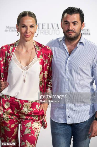 Carola Baleztena and Emiliano Suarez attend Paco Rabanne exhibition at the Real Academia de Bellas Artes de San Fernando on June 8 2017 in Madrid...