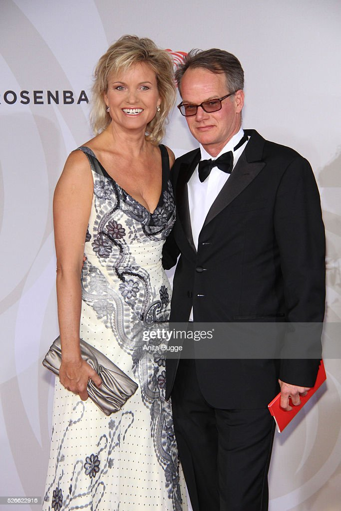 Carola Ferstl and Anton Voglmaier attend the charity event 'Rosenball' at Hotel Intercontinental on April 30, 2016 in Berlin, Germany.
