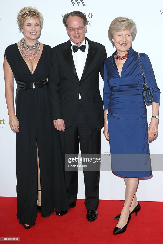 Carola Ferstl, Anton Voglmaier and Friede Springer attend 'Waldorf Astoria Berlin Grand Opening' at Waldorf Astoria Berlin on February 27, 2013 in Berlin, Germany.