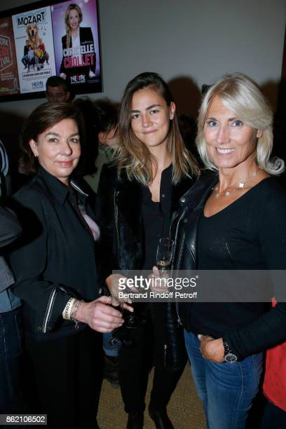 Carole Amiel Marie Sara Lambert and her daughter Sara Luna Leconte attend the One Woman Show by Christelle Chollet for the Inauguration of the...
