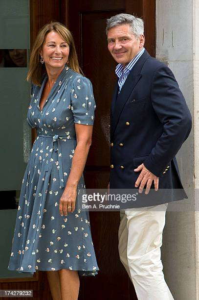 Carole and Michael Middleton arrive at The Lindo Wing after visiting Catherine Duchess Of Cambridge and her newborn son at on July 23 2013 in London...