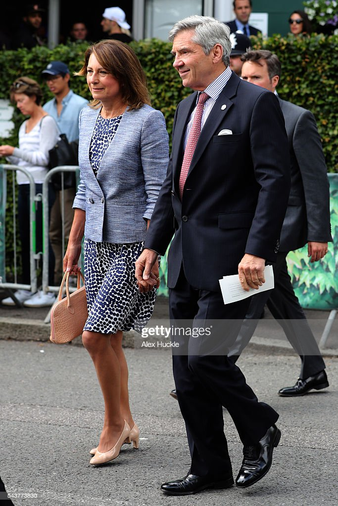 Carole and Michael Middleton arrive at Wimbledon on June 30, 2016 in London, England.