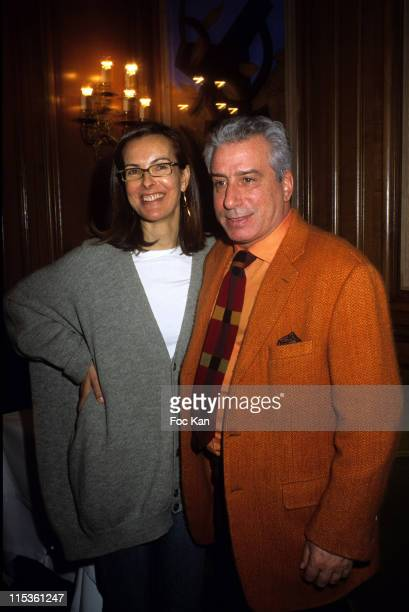 Carole Bouquet and Marco Del Re during 'Paintings By Marco Del Re' Exhibition Preview Hosted By Gerard Depardieu at Restaurant la Fontaine Gaillon in...