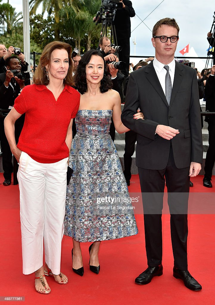 Carole Bouquet, Do-yeon Jeon and Nicolas Winding Refn attend the red carpet for the Palme D'Or winners at the 67th Annual Cannes Film Festival on May 25, 2014 in Cannes, France.