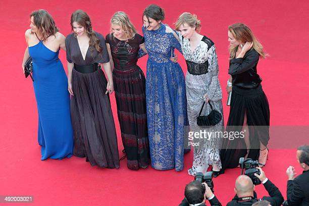 Carole Franck Lou de Laage Melanie Laurent Josephine Japy Isabelle Carre and Claire Keim attend 'The Homesman' premiere during the 67th Annual Cannes...