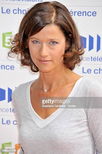 Carole Gaessler attends the 'France Televisions' press conference