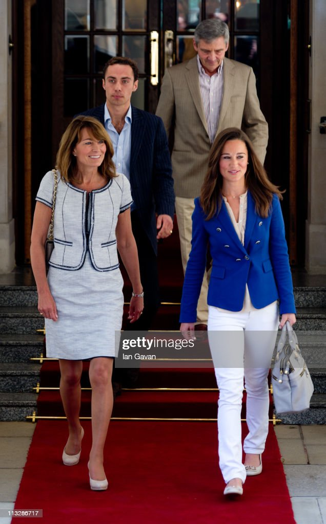 Carole, James, Michael and Philippa Middleton depart the Goring Hotel in London on April 30, 2011 in London, England.