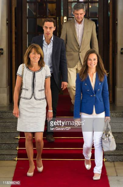 Carole James Michael and Philippa Middleton depart the Goring Hotel in London on April 30 2011 in London England