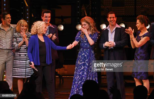 Carole King and Cassidy Janson pose onstage with cast members after Carole King surprised the West End cast of 'Beautiful The Carole King Musical' at...