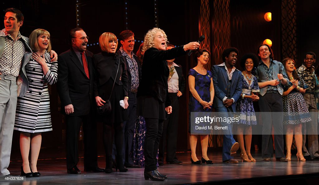 Carole King (C) and Cast bows at the curtain call during the press night performance of 'Beautiful: The Carole King Musical' at the Aldwych Theatre on February 24, 2015 in London, England.