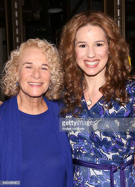 Carole King and Chilina Kennedy backstage celebrate the 1000th performance of 'Beautiful The Carole King Musical' at Stephen Sondheim Theatre on June...