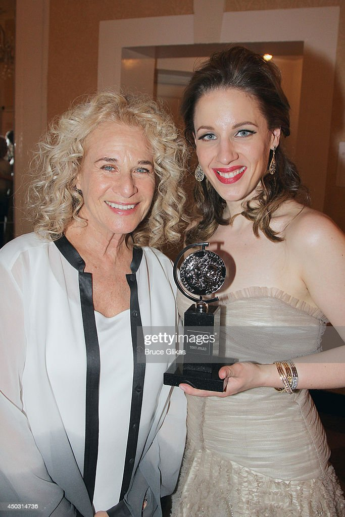 Carole King and Jessie Mueller winner of the award for Best Performance by an Actress in a Leading Role in a Musical for 'Beautiful' pose in the...