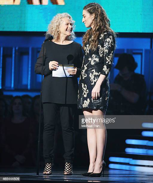 Carole King and Sara Bareilles speak onstage during the 56th GRAMMY Awards held at Staples Center on January 26 2014 in Los Angeles California