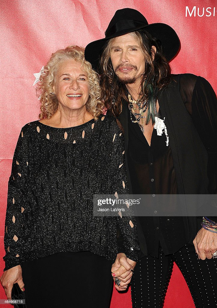 Carole King and Steven Tyler attend the 2014 MusiCares Person of the Year honoring Carole King at Los Angeles Convention Center on January 24, 2014 in Los Angeles, California.