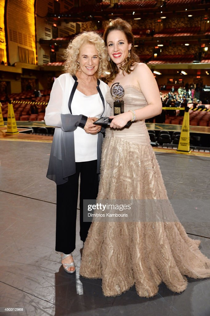 Carole King and Tony award winner Jessie Mueller pose backstage at the 68th Annual Tony Awards at Radio City Music Hall on June 8 2014 in New York...
