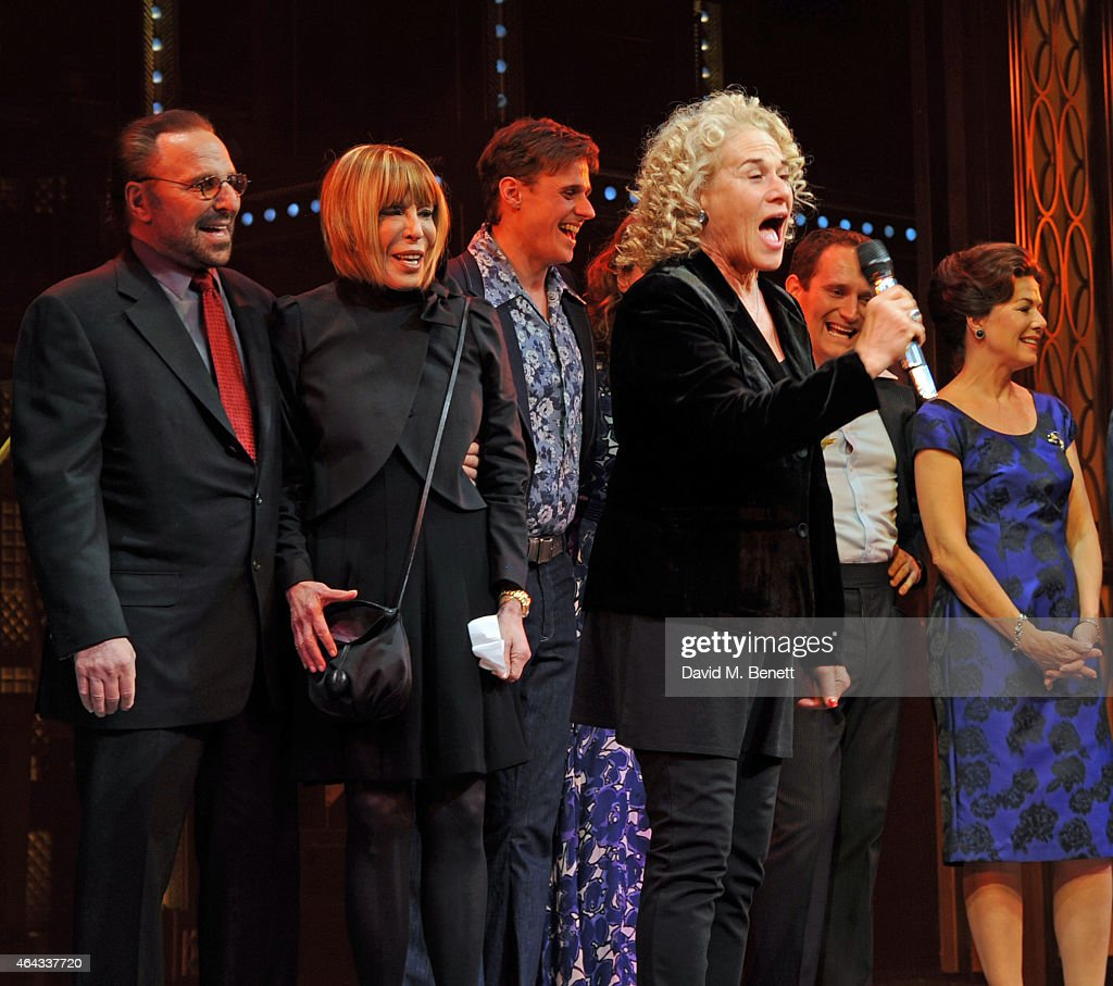 Carole King bows at the curtain call during the press night performance of 'Beautiful: The Carole King Musical' at the Aldwych Theatre on February 24, 2015 in London, England.