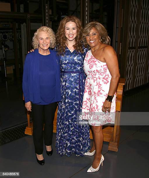 Carole King Chilina Kennedy and Darlene Love backstage celebrate the 1000th performance of 'Beautiful The Carole King Musical' at Stephen Sondheim...