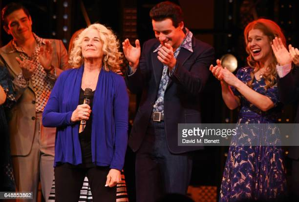 Carole King speaks as cast members Cassidy Janson and Matthew SeadonYoung look on as Carole King surprises the West End cast of 'Beautiful The Carole...