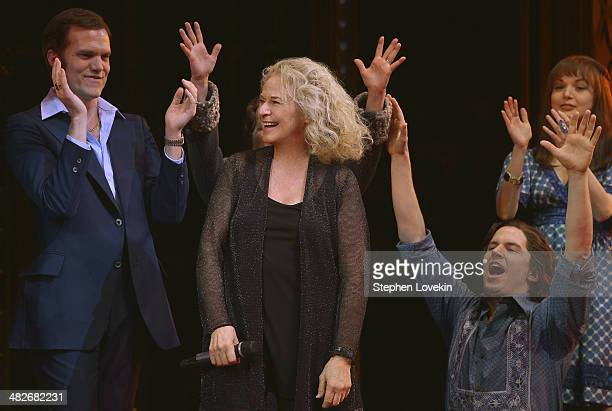 Carole King suprises the cast of 'Beautiful' on Broadway at Stephen Sondheim Theatre on April 3 2014 in New York City
