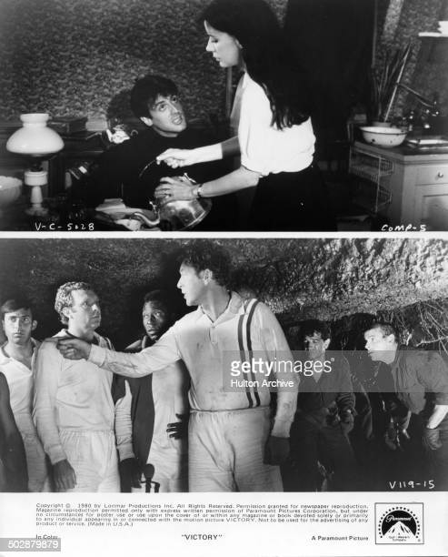 Carole Laure assists Sylvester Stallone Michael Caine coaches allied prisoners of war soccer team in a scene for the Paramount Pictures movie...