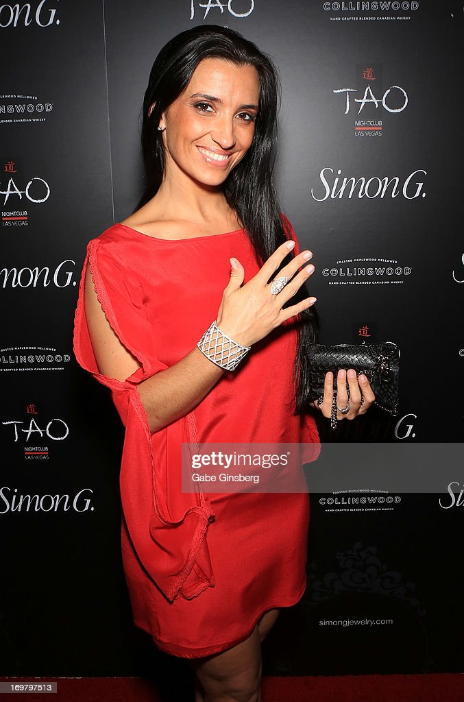 <a gi-track='captionPersonalityLinkClicked' href=/galleries/search?phrase=Carole+Marini&family=editorial&specificpeople=5722127 ng-click='$event.stopPropagation()'>Carole Marini</a> arrives at the annual Simon G. Soiree at the Tao Nightclub at The Venetian Las Vegas on June 1, 2013 in Las Vegas, Nevada.
