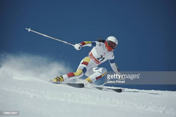 Carole Merle of France skiing in the Women's Super Giant Slalom event on 11 February 1998 during the XVIII Olympic Winter Games at Shiga Kogen Nagano...