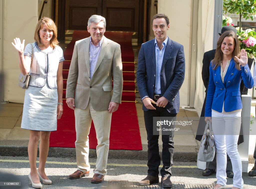 Carole, Michael, James and Philippa Middleton depart the Goring Hotel in London on April 30, 2011 in London, England.